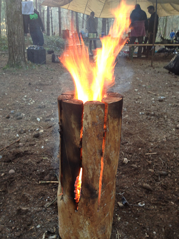 Log candle with flames emanating from top
